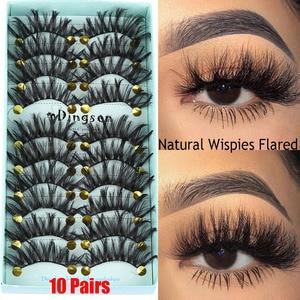 Image 1 - 10 Pairs 3D Zachte Faux Nertsen Haar Valse Wimpers Dikke Lange Wispies Pluizige Natuurlijke Wimper Make Extension Handgemaakte Nep Wimpers