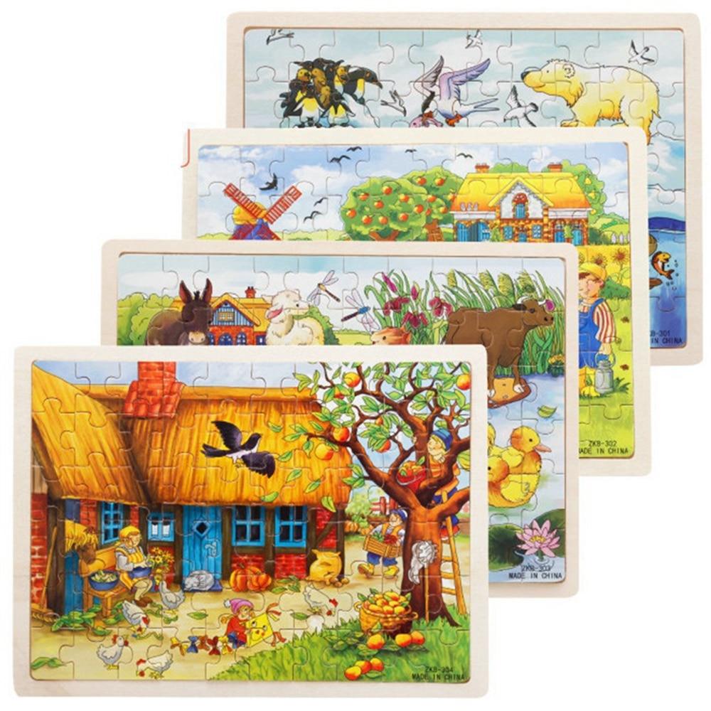 60 частей яблоня дом деревянные головоломки детские развивающие игрушки
