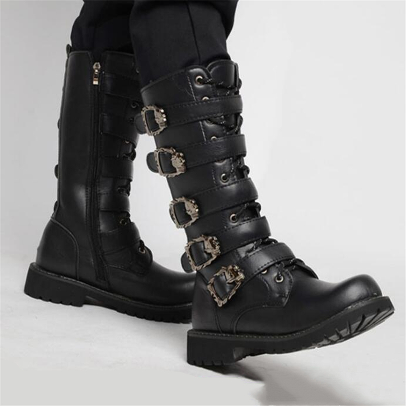 Men's Leather Motorcycle Boots Mid-calf Military Combat Boots Gothic Belt Punk Boots Men Shoes Tactical Army Boot(China)