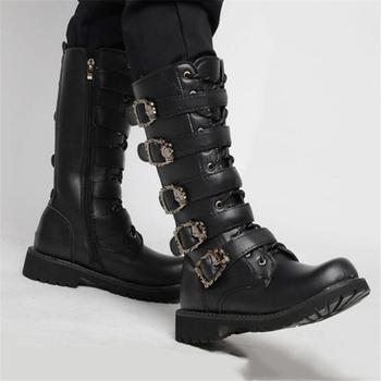 Męskie skórzane buty motocyklowe połowy łydki buty wojskowe Gothic Belt Punk buty męskie buty taktyczne buty w stylu wojskowym tanie i dobre opinie HAN WILD CN (pochodzenie) Stałe Dla dorosłych Cotton Fabric Bonded leather Okrągły nosek RUBBER Wiosna jesień Niska (1 cm-3 cm)
