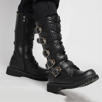 Men's Leather Motorcycle Boots Mid-calf Military Combat Boots Gothic Belt Punk Boots Men Shoes Tactical Army Boot