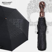 Creative גולגולת ידית גדול מטריית גברים אוטומטי 3 מתקפל פאנק רטרו מטריית גשם נשים באיכות גבוהה מודפס למתנות