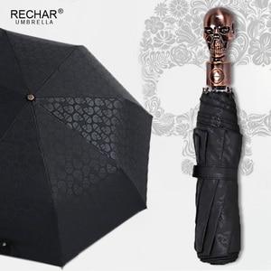 Image 1 - Creative Skull Handle Big Umbrella Men Automatic 3Folding Punk Retro Umbrella Rain Women High Quality Printed Umbrella For Gifts