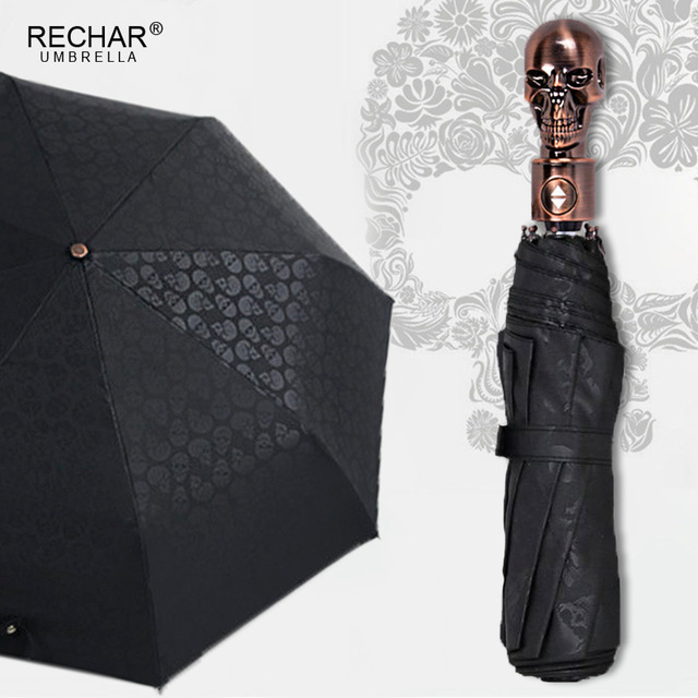 Creative Skull Handle Big Umbrella Men Automatic 3Folding Punk Retro Umbrella Rain Women High Quality Printed Umbrella For Gifts