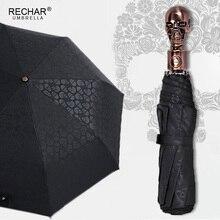 Paraguas grande creativo con mango de calavera automático 3 paraguas Retro Punk plegable para lluvia paraguas impreso de alta calidad para regalos