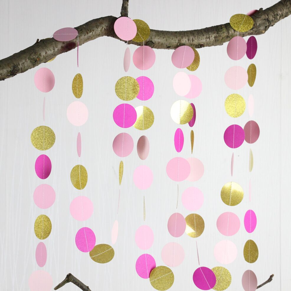 5pcs Paper Garland in Hot Pink, Rose, Blush and Gold, Bridal Shower ...