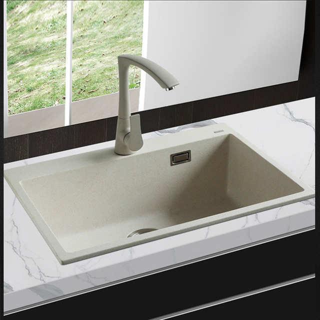 US $507.54 34% OFF|650*450*200mm Quartz Stone Kitchen Sink Granite single  Bowl Sink Kitchen Accessories Vegetables Basin Sinks free shipping-in ...