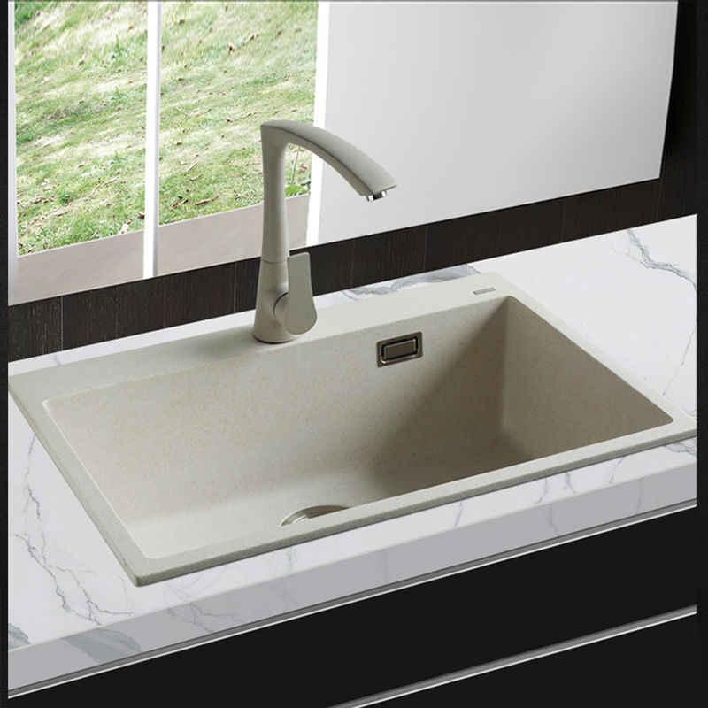 650*450*200mm Quartz Stone Kitchen Sink Granite single Bowl Sink Kitchen  Accessories Vegetables Basin Sinks free shipping
