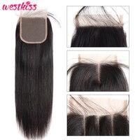 West Kiss 100% Human Hair Lace Closure 4X4 Free Part Peruvian Straight Hair Closure 130% Density Remy Hair Free Shipping