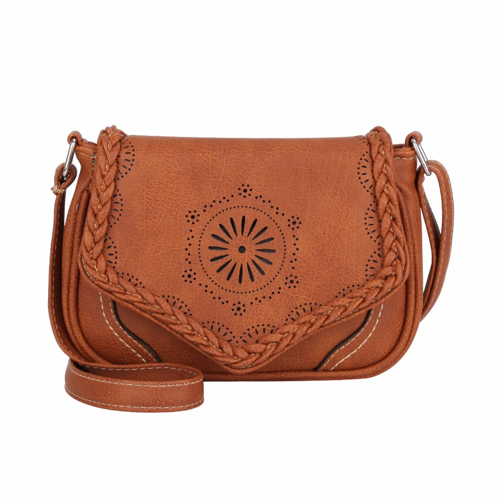 f92b69ada9 Mojoyce Brand Women Shoulder Bag Vintage Pu Leather Crossbody Bag Hollow  Out Ladies Satchel Bag Brown