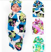 Baby Floral Swaddle Blanket Rabbit Ear Top Hat Newborn Shower Gift Flower Parrern Hospital India Cap