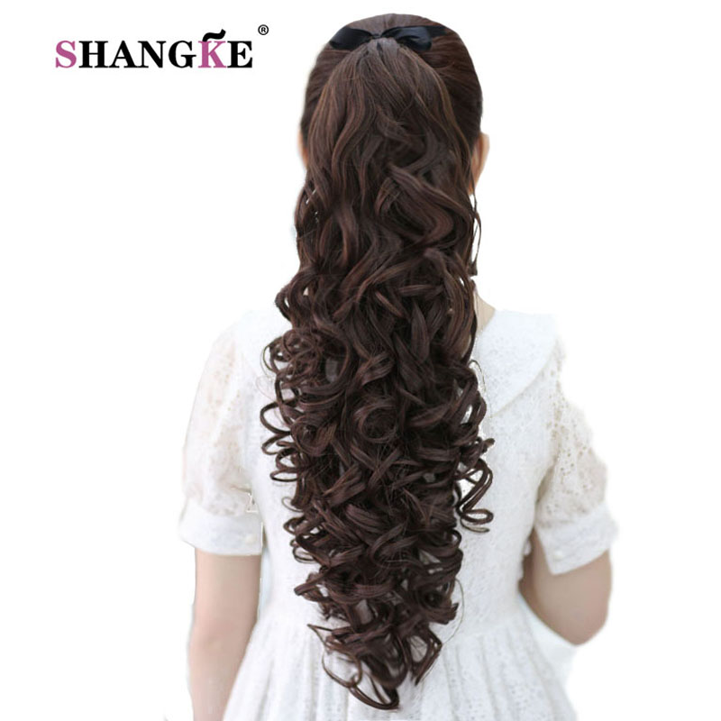 SHANGKE 24 '' Långa Kinky Curly Hair Pieces Hästsvans Natural Clip In On Hårförlängningar Flip In Fake Hair Tail Long Clip Hästsvans