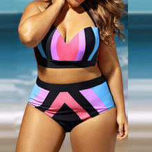 Plus Size 4XL Women Bikini Suit Push Up Hard Bro Biquini Rainbow Patch Color Two Piece Bikinis Summer Fat Lady Swimsuit sale(China)