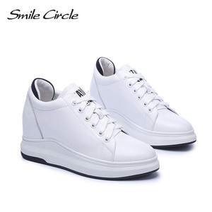 Image 5 - Smile Circle Wedges Sneakers Women Genuine Leather Casual Shoes Women Fashion Lace up High heel Platform Shoes