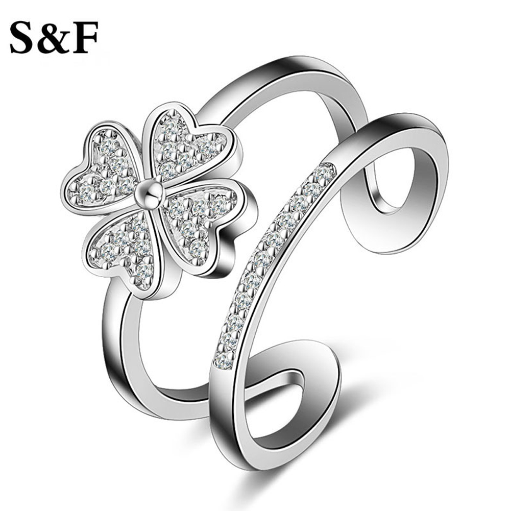 Special Design Four Leaf Clovers Double Finger Party Rings for Women Opening Adjust Sliver Color AAA Cubic Zirconia Jewelry 2017