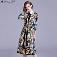 Luxury Print Vintage Casual Shirt Dress Women Autumn Dress Runway Designer Dresses High Quality Women Fashion 2018 Robe Femme