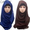 Шарф Женщины Обычная Макси Хиджаб Шаль Новый Soild Цвет Мусульманский Головной шарф для Дамы 100% Вискоза готовы Носить Мгновенное Хиджаб Шарф