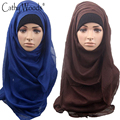 Scarf Women Plain Maxi Hijab Shawl New Soild Color Muslim Head Scarf for Ladies 100% Viscose Ready to Wear Instant Hijab Scarf