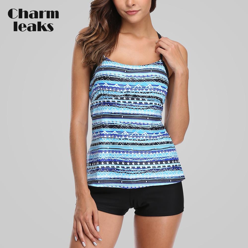 Charmleaks Tankini Set Women Swimwear Leopard Printed Swimsuits Backless Bathing Suit Beach Wear Bikini