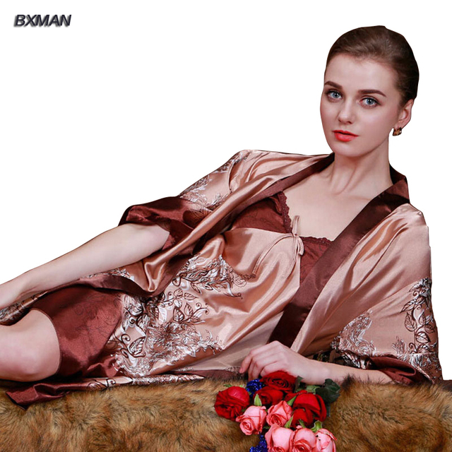 Fashion pajamas homewear summer autumn sleepwear floral print sexy robe & gown sets simple comfortable
