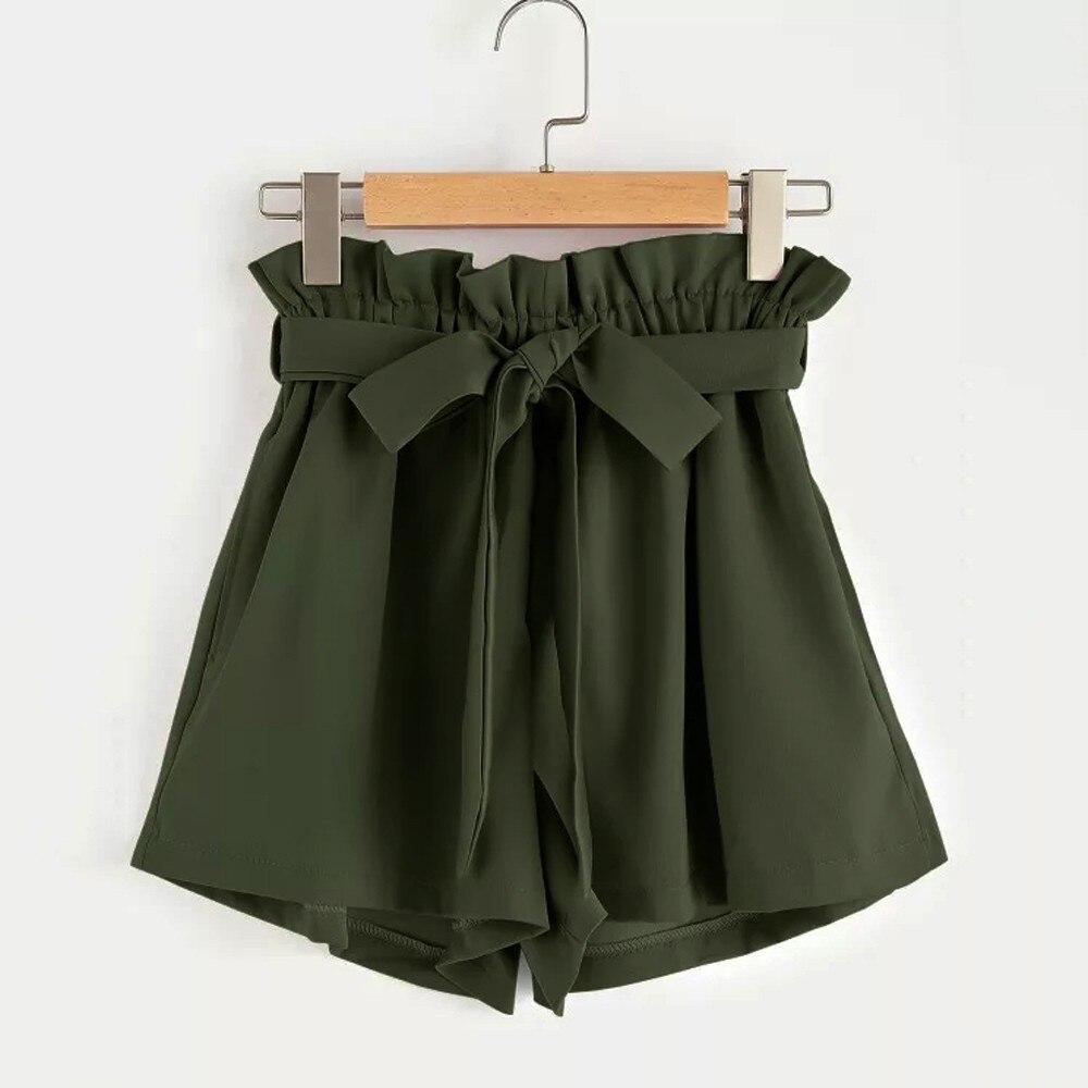High Waist Shorts Women Retro Solid Casual Fit Elastic Pocket Shorts With String Shorts For Women short feminino spodenki #2S
