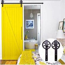 LWZH 16ft/17ft/18ft/19ft/20ft Black Modern Steel Rustic Wood Sliding Barn Door Closet Door Track Hardware Set for Single Door