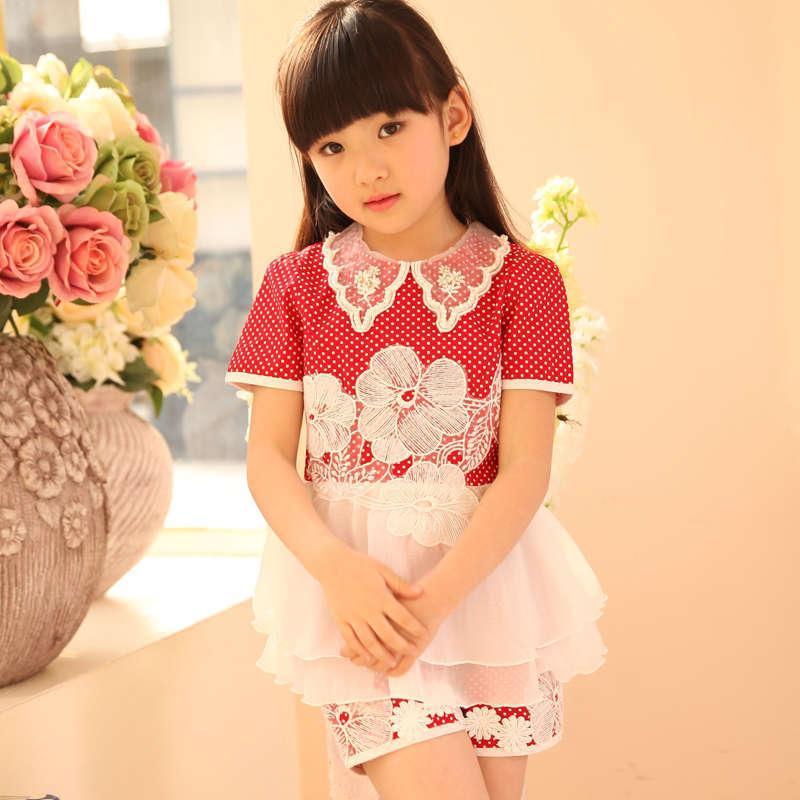 ФОТО High standard summer sunflower flower girl dress turndown collar kids baby dress cake mold fancy princess wear dots print