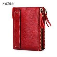 Купить с кэшбэком Muurdde Fashion Vintage Genuine Leather Women Wallets Female Bifold Women's Rfid Wallet Double Zipper Design Coin Purse Pockets