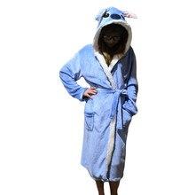 Winter Fannel Stitch Women Long Robe Animal Cartoon Towel Bathrobe Unicorn Hooded Sleepwear Dressing gowns for Women Robe Femme недорого