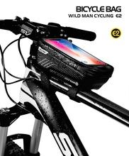 WILD MAN Bike Bag Rainproof Waterproof MTB Front 6.2inch Mobile Phone Case Mountain Bicycle Touch Screen Cycling Top Tube