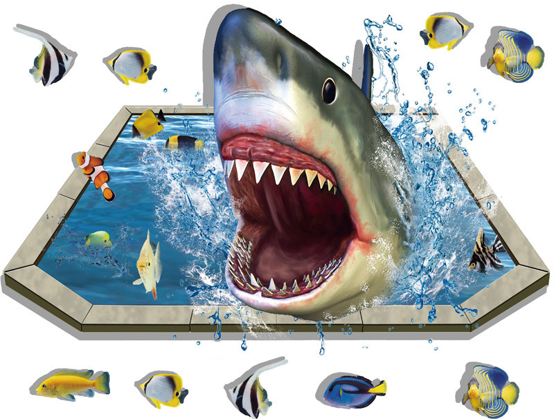 3d Effect Pool Shark Removable Floor Wall Stickers Diy