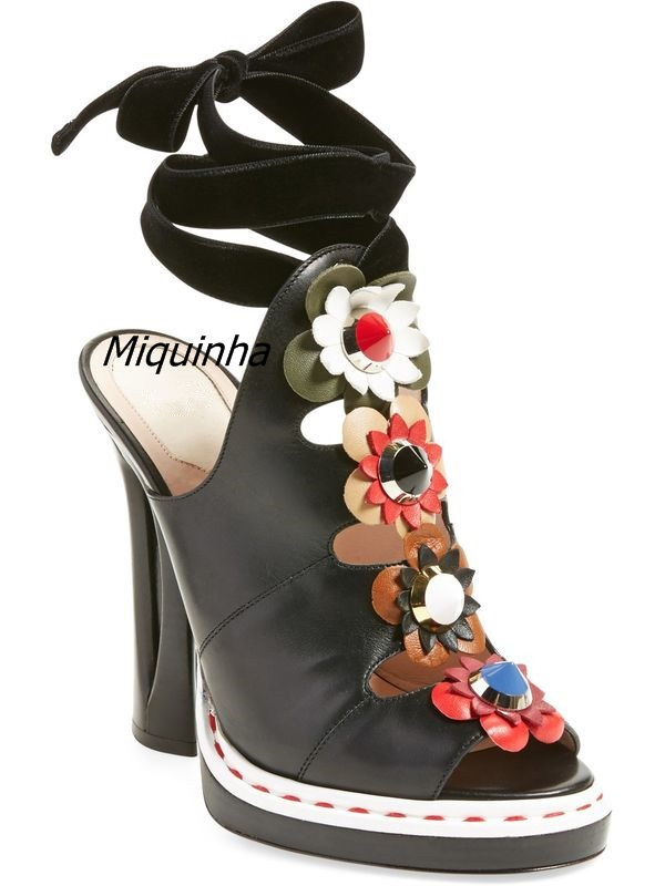 Trendy Flowers Decorated Peep Toe Dress Sandals Sexy Slingback Lace Up Cut-out Strange Heel Shoes Fashion Platform Sandals Celeb st decorated up