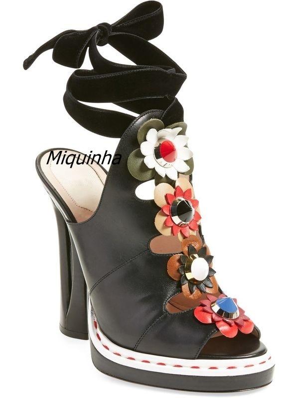 Trendy Flowers Decorated Peep Toe Dress Sandals Sexy Slingback Lace Up Cut-out Strange Heel Shoes Fashion Platform Sandals Celeb цена и фото