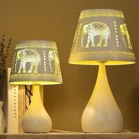 Слон настольная лампа творческий для спальни кабинет Гостиная Бар отточить освещения кафе прикроватные Белый Настольные лампы cl