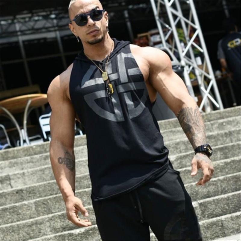 2018 New Brand mens Hooded vest Summer Cotton Slim Fit Men   Tank     Tops   Clothing Bodybuilding Undershirt Golds Fitness   tops   tees