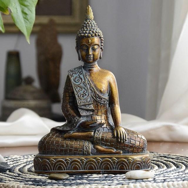 Tibetan Resin Imitation Bronze Buddhism Bodhisattva Sakyamuni Buddha Statue Buddha Head Sculpture Crafts R22