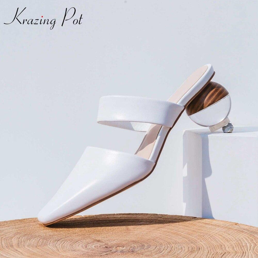 Krazing 냄비 전체 곡물 가죽 뮬 슬립 젤리 외부 슬리퍼 이상한 스타일 크리스탈 라운드 발 뒤꿈치 5.5 cm streetwear 샌들 l16-에서하이힐부터 신발 의  그룹 1
