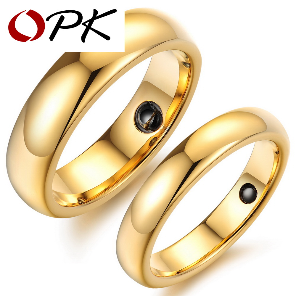 opk brand high quality gold color tungsten steel couple engagement wedding ring fashion women men jewelry - Wedding Ring Price