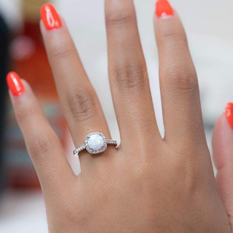 Silverwill élégante bague de fiançailles opale pour femmes halo 925 bague en argent sterling cadeau anniversaire unique bijoux 2019 moda - 4