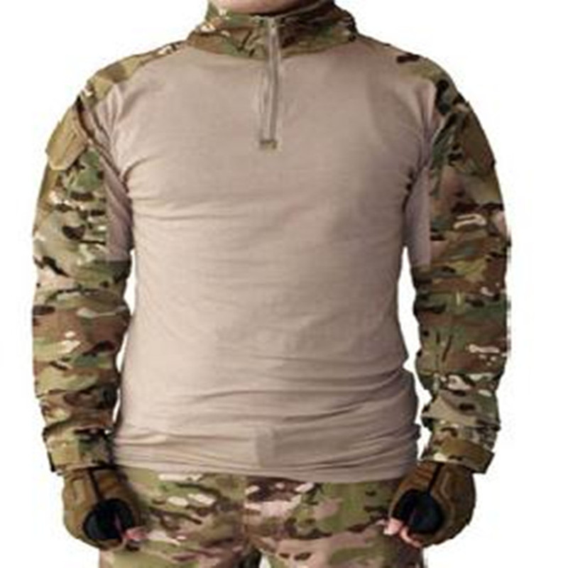 US Marine Corps frog military tactical combat airsoft paintball hunting shirt outdoor sports Tops W / elbow Multicam