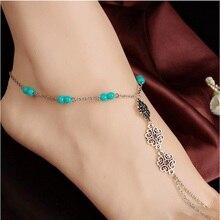Li & Fang 2017 brand Summer Blue Beaded Anklet Beach Hollow Vintage Alloy boho Leg Bracelet Fashion Foot Jewelry Women