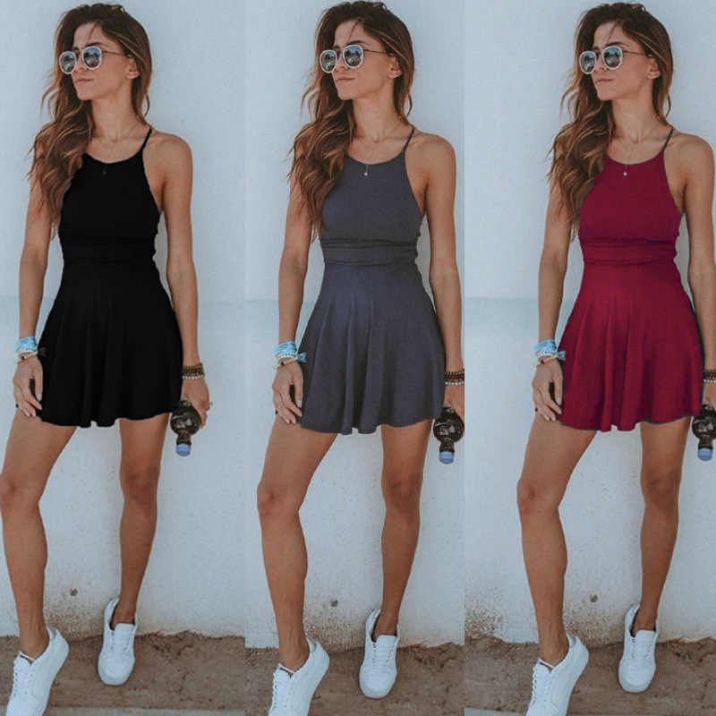 36634bb93b Fashion Summer Women Sexy Tight Dress Solid Color Strap Backless Beach  Casual Ladies Girls Mini Short