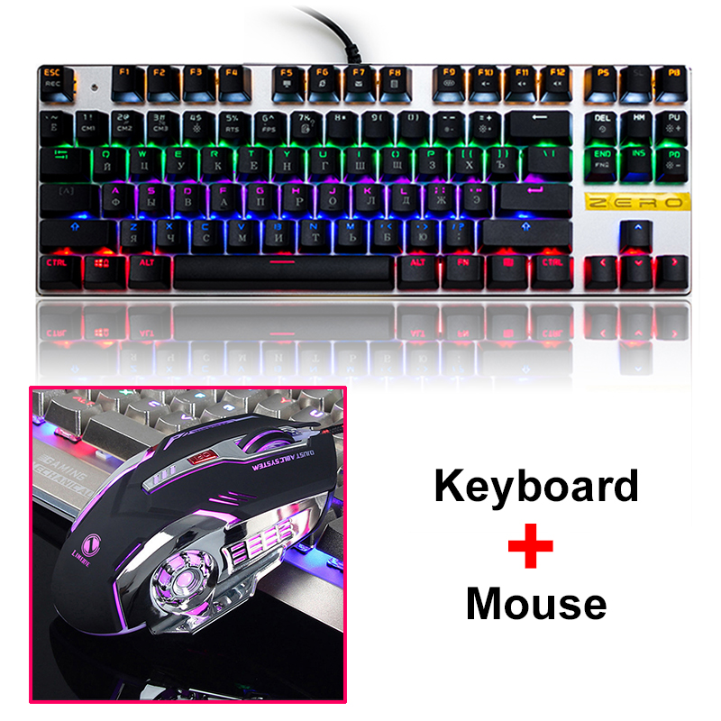 Metoo ZERO LED Breathing Backlit Pro Gaming Mechanical Keyboard Mouse Combos USB Wired Full Key Professional Mouse Keyboard