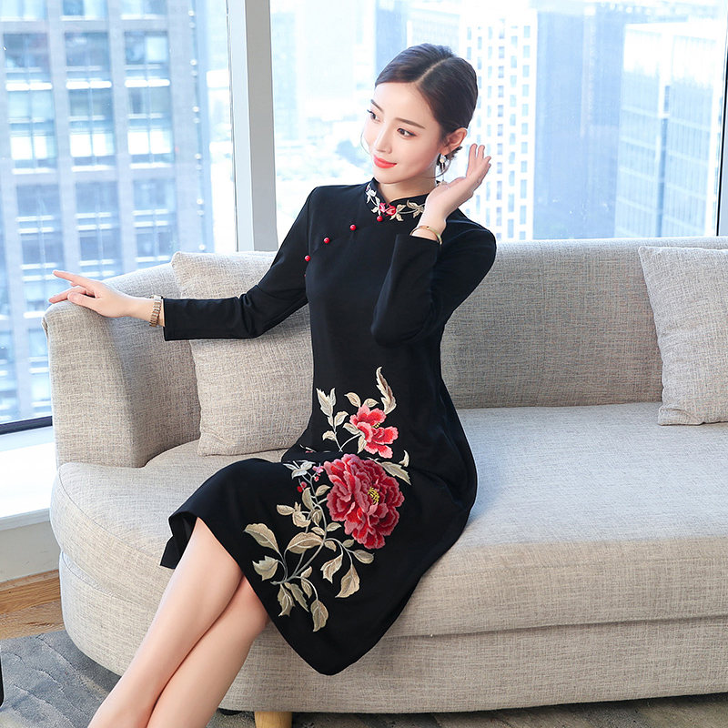Black Dress Embroidery Women Long Sleeve Chinese Print Floral Midi