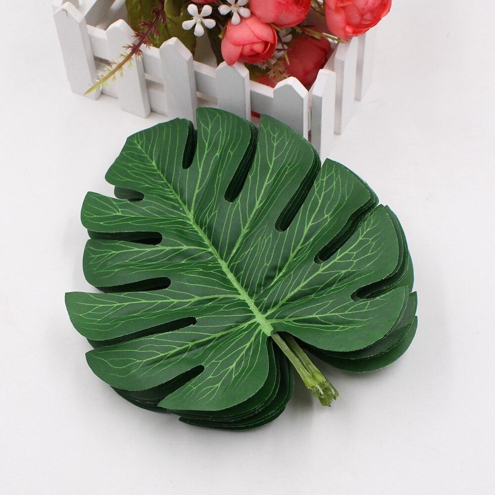 5pcs/lot Big monstera deliciosa green leaves artificial leaf silk flower plants home garden decoration DIY gardening flowers