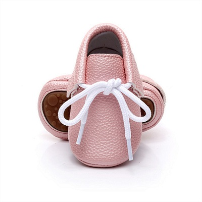 2018 Spring New Pink candy colors Hard sole Newborn shoes lace-up brand Pu leather baby shoes girls fringe baby moccasins shoes