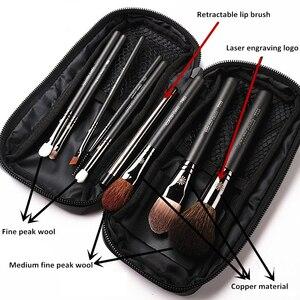 Image 2 - Korean Fashion 9Pcs Goat Hair Makeup Brushes with Leather Case Professional Eyebrow Lip Nose Eyelash Make up Brush Kit Gift