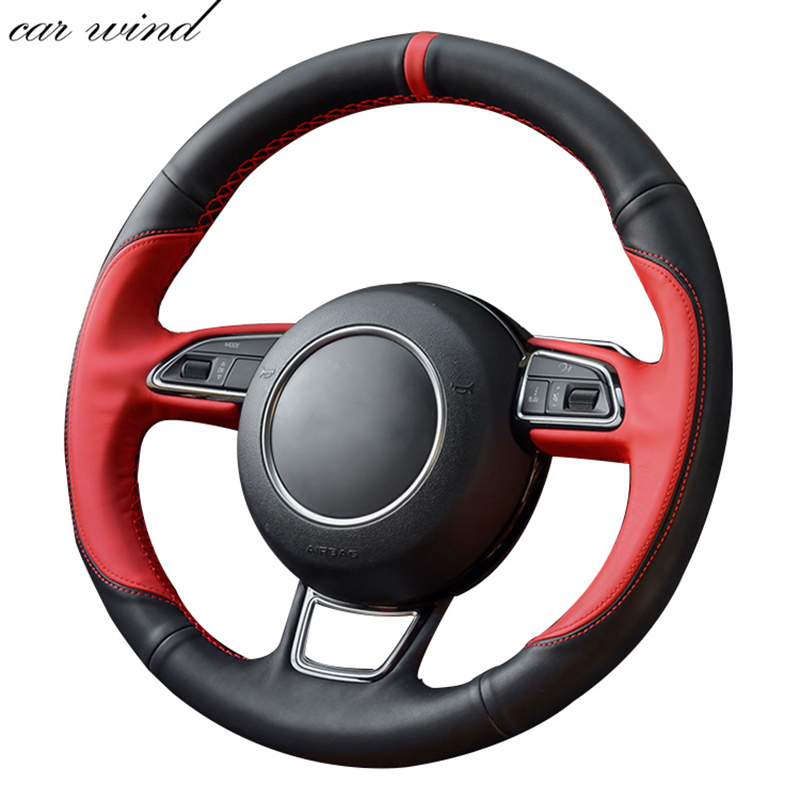 Car Wind 38 CM Genuine Leather Car Steering Wheel Cover black Steering-wheel Cover For Audi A4 A4L A6 A6L A5 Q5 Car Accessories car wind 38 cm genuine leather car steering wheel cover black steering wheel cover for bmw vw gol polo hyundai car accessories