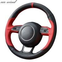 Car Wind 38 CM Genuine Leather Car Steering Wheel Cover black Steering wheel Cover For Audi A4 A4L A6 A6L A5 Q5 Car Accessories