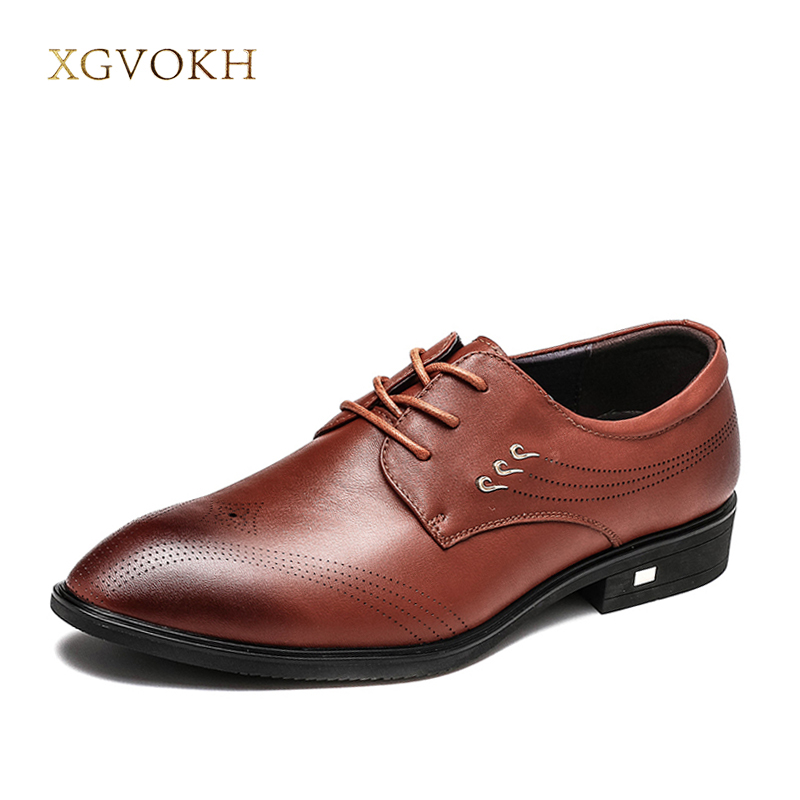 Genuine leather men's Oxfords dress shoes black brown formal business male lace-up shoes Fashion Wedding Shoes XGVOKH Brand dxkzmcm men oxfords shoes black brown mens dress shoes genuine leather business shoes formal wedding shoes